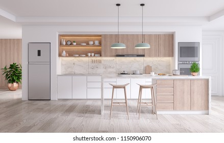 A Cozy Modern kitchen room interior .3drender