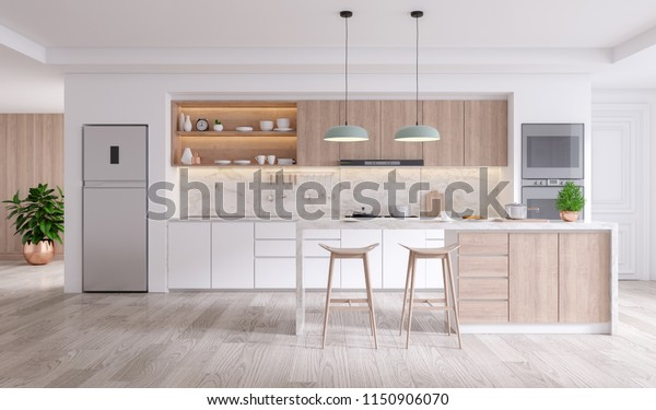 A Cozy Modern kitchen room interior .3drender