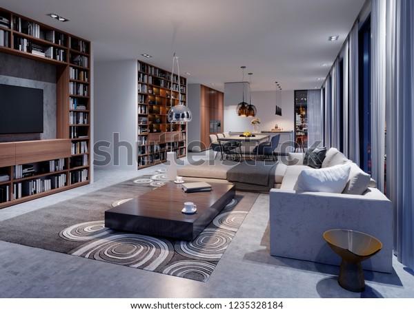 . Cozy Modern Living Room Evening Corner Stock Illustration 1235328184