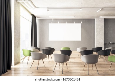 Cozy presentation interior room with blank screen. Conference and presentation concept. 3D Rendering