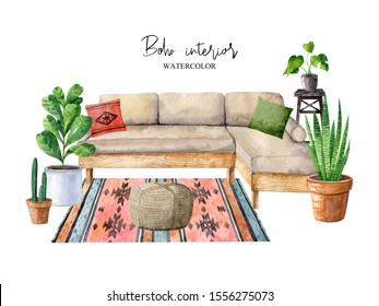 Cozy room interior with sofa, carpet, home plants in pots, ottoman, pillows, whatnot. Composition in hygge style. Scandinavian interior. Boho lifestyle. Isolated watercolor illustration.
