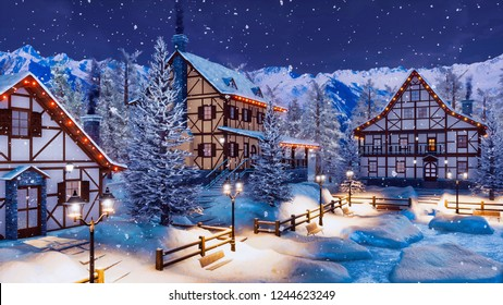 Cozy snow covered alpine mountain town with traditional half-timbered rural houses and christmas lights at winter night during snowfall. With no people 3D illustration from my own 3D rendering file.