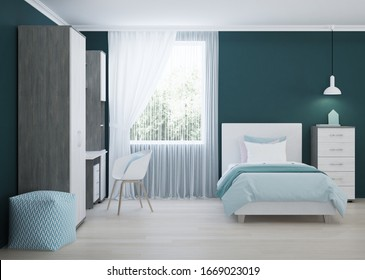 Cozy stylish bedroom designed for a teenager. Bright interior with bright accents. 3D rendering.