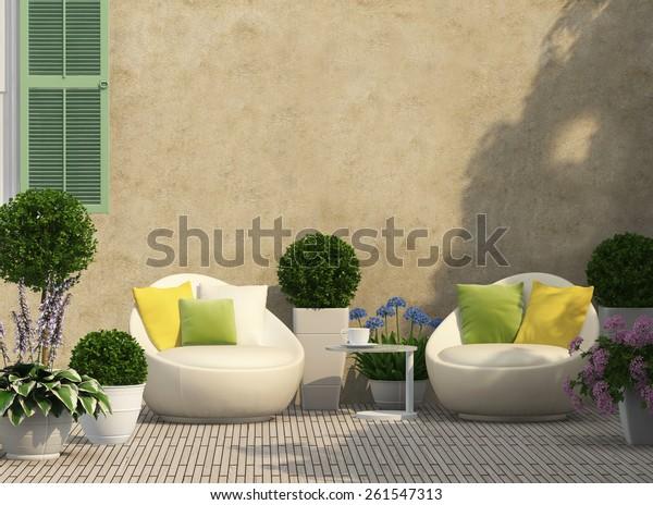 Illustration de stock de Terrasse agréable dans le jardin ...