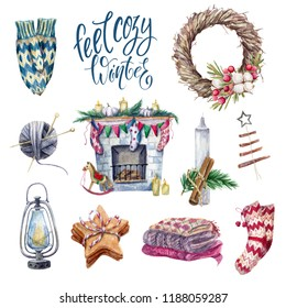 Cozy winter set of watercolor hugge essentials elements