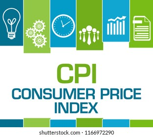 CPI - Consumer Price Index text written over blue green background.