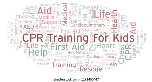 CPR Training For Kids word cloud, made with text only.