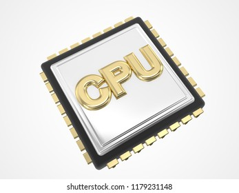 cpu chip 3d rendering illustration