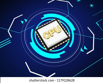 cpu chip card 3d rendering illustration