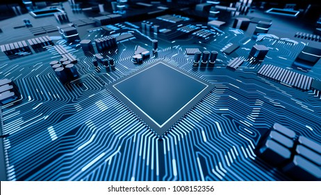 CPU Chip on Motherboard - abstract 3D render of a computer processor chip on a circuit board with microchips and other computer parts