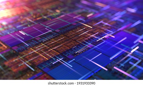 CPU or GPU chip with data lines. 3D rendering