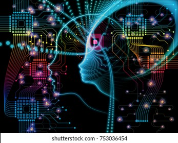CPU Mind series. Abstract background made of human face silhouette and technology symbols for use with projects on computer science, artificial intelligence and communications