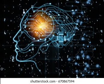 CPU Mind series. Design composed of human face silhouette and technology symbols as a metaphor on the subject of computer science, artificial intelligence and communications
