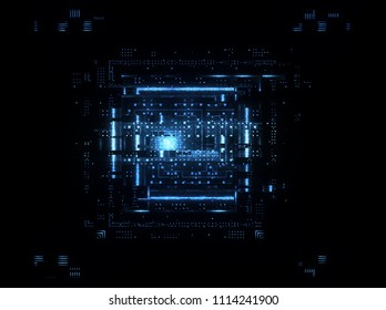 CPU socket. Modern technology. Big data center. Mobile device. Blue Light effect. Future microcontroller. Blockchain. Energy grid Super system. Virtual reality. Digital signal. Overclock module
