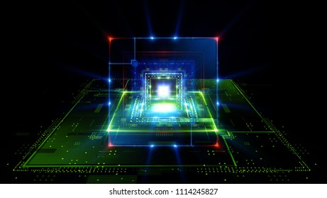 CPU socket. Modern technology. Big data center. Mobile device. Light effect. Future microcontroller. Blocks and cubes. Energy grid Super system. Virtual reality. Digital signal. Overclock module