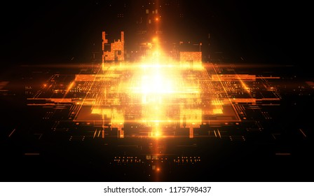 CPU socket. Modern technology. Big data center. Modile device. Light effect. Future microcontroller. Blocks and cubes. Energy grid Super system. Virtual reality. Digital signal. Overclock module