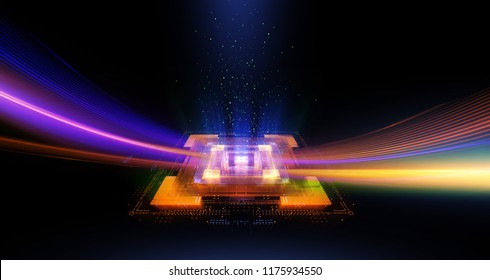 CPU socket. Modern technology. Big data center. Mobile device.