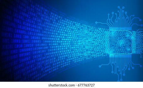 CPU Technology With Decryption And Encryption Binary Number Code Illustrator Background. Blue Abstract Digital Microprocessor With Electronics Circuit Board Pad System.