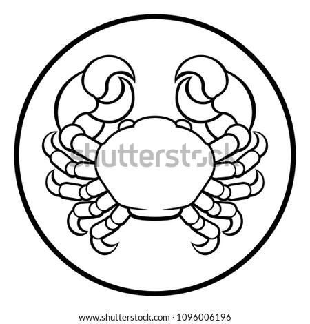 Crab Astrology Zodiac Signs Circular Cancer Stock Illustration