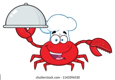 Crab Chef Cartoon Mascot Character Holding A Platter. Raster Illustration Isolated On White Background