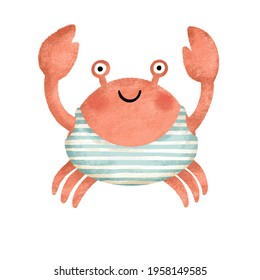 crab isolated on white background. cute red crab in a swimsuit. sea animals. cute childrens illustration