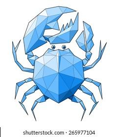 Crab. Low polygon linear illustration