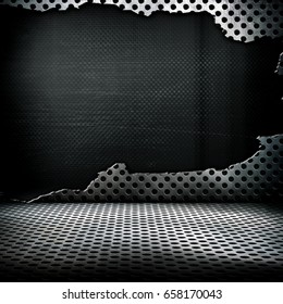 cracked 3d metal mesh background