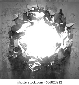 Cracked big hole in broken concrete wall to light. 3d render illustration