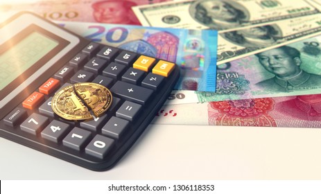 Cracked Bitcoin laying on calculator. High risk on cryptocurrency investments. 3D rendering