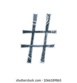 Cracked blue ice hashtag social media icon or pound sign symbol in a 3D illustration with a realistic dark blue color frozen icy winter texture fun curly font on white with clipping path