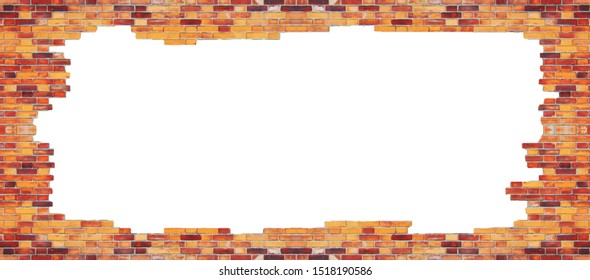 Cracked brick wall background. Banner with brickwork frame and empty copy space