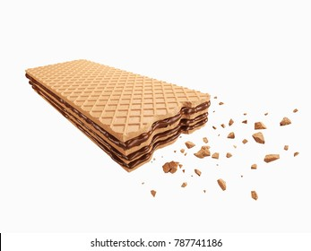 Cracked chocolate wafer flavor, with Clipping path 3d illustration.