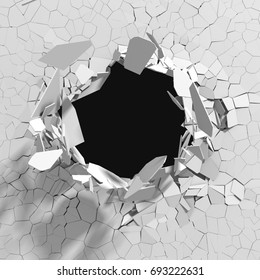 Cracked concrete wall with bullet hole. Destruction Abstract background. 3D render illustration