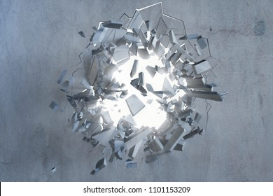 Cracked earth abstract background with volume light rays. Cracked concrete earth abstract background. 3D Rendering