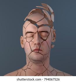 cracked human head, 3d illustration