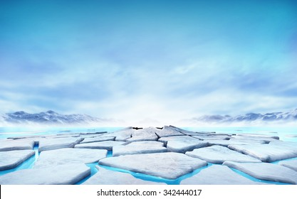 cracked ice floe floating on blue water mountain lake, seasonal winter landscape digital illustration