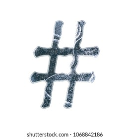 Cracked ice hashtag social media icon or pound sign symbol in a 3D illustration with a dark blue cold winter frozen icy texture elegant loose edge font on white with clipping path