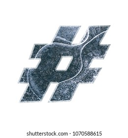 Cracked ice hashtag social media icon or pound sign symbol 3D illustration with a realistic dark blue splitting ice texture in a cold winter icy theme basic bold font on white with clipping path