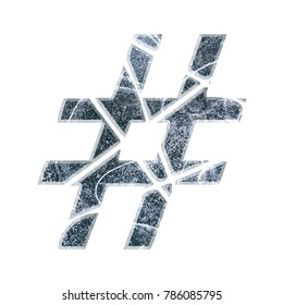 Cracked ice style hashtag social media icon or pound sign symbol in a 3D illustration with a cold winter icy texture effect and shattered broken font isolated on a white background with clipping path