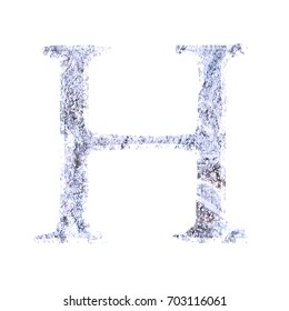cracked ice style uppercase or capital letter h in a 3d illustration with a light blue