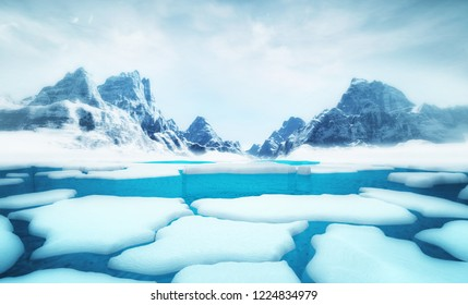 cracked iceberg pieces with big mountains behind background template, global warming and environmental conditions 3D illustration render