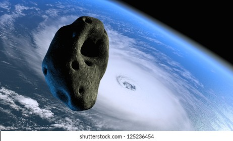 Cracked lava asteroid flying toward Earth