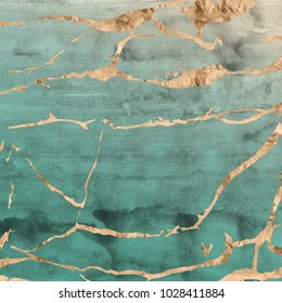 Cracked marble design in rose gold metallic foil overlaid on a jade green hand painted watercolor textured background.