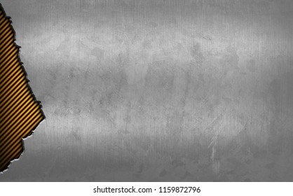 cracked metal with warning striped background