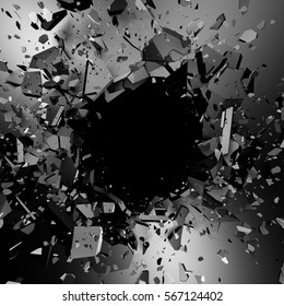 Cracked metallic wall surface with explosion demolition hole. 3d render illustration