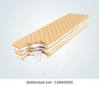 Cracked Milk cream wafer flavor, with Clipping path 3d illustration.