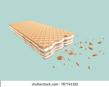 Cracked Milk wafer flavor, with Clipping path 3d illustration.