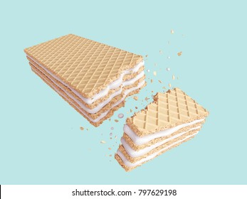 Cracked Milk wafer flavor, Design for Crispy Concept, with Clipping path 3d illustration.