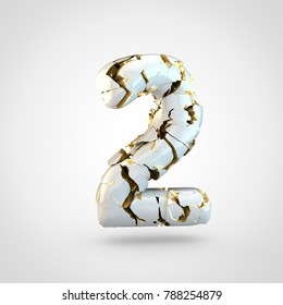 Cracked number 2. 3D render cracked white font with golden texture inside isolated on white background.