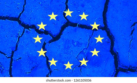 Cracks in Europe  The blue European flag is projected onto a background with cracks.